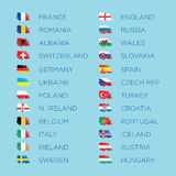För bestämningflaggor för euro 2016 uppsättning för mall för vektor Royaltyfri Foto