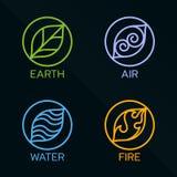 För beståndsdelcirkel för natur 4 linje logotecken Vatten brand, jord, luft På mörk bakgrund vektor illustrationer