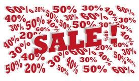 för beståndsdelförsäljning för affär 3d bakgrund för text med modellen för procentrabattvektor Arkivbild
