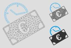 För betalningvektor för euro återkommande modell för ingrepp 2D och mosaisk symbol för triangel stock illustrationer