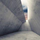 för betongrum för 3 D inre med molnig himmel stock illustrationer