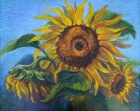 ` för bild`-solrosor, Kanfas olja Royaltyfri Foto