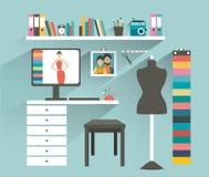för bildkontor för illustrationer 3d arbetsplats Kontor för modeformgivare stock illustrationer