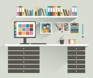 för bildkontor för illustrationer 3d arbetsplats Målare märkes- kontor vektor illustrationer