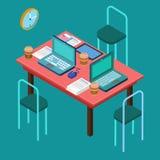 för bildkontor för illustrationer 3d arbetsplats modern workspace samtal för möte för bärbar dator för skrivbord för affärsaffärs stock illustrationer