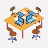 för bildkontor för illustrationer 3d arbetsplats modern workspace samtal för möte för bärbar dator för skrivbord för affärsaffärs royaltyfri illustrationer