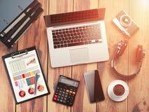 för bildkontor för illustrationer 3d arbetsplats Träskrivbordbakgrund med bärbara datorn, mobil stock illustrationer