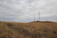 för bildmorgon för kommunikation tidiga torn för torn för silhouette Arkivfoton