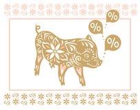 för bildpig för bakgrund svart begreppsmässigt tecken Kinesiska hälsningar för nytt år, år av svinet royaltyfri illustrationer