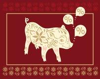 för bildpig för bakgrund svart begreppsmässigt tecken Kinesiska hälsningar för nytt år, år av svinet stock illustrationer