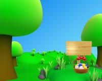 För bildsikt för djungel utomhus- korg för ägg Arkivfoto