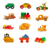För billastbil för samling modellerar gamla träfärgrika leksaker Royaltyfri Fotografi