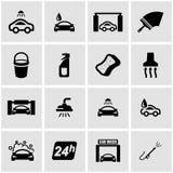 För biltvättsymbol för vektor svart uppsättning stock illustrationer