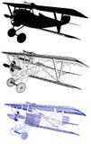 För biplanillustration för antik tappning militär vektor Arkivbild