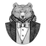 För björnHipster för grisslybjörn stor lös dragen illustration djur hand för tatueringen, emblem, emblem, logo, lapp, t-skjorta royaltyfri illustrationer