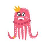 För bläckfiskprinsessa för gullig tecknad film rosa tecken, rolig illustration för vektor för havkorallrev djur Arkivbilder