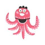 För bläckfiskservitris för gullig tecknad film rosa tecken, rolig illustration för vektor för havkorallrev djur Fotografering för Bildbyråer