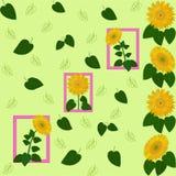 För bladsolros för modell grön tapet för flora för abstraktion för guling Arkivfoton