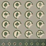 För bladsymbol för lövfällande träd uppsättning i stämpelform Royaltyfri Bild