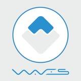 För blockchaincriptocurrency för vågor decentraliserad logo för vektor för plattform Arkivfoton