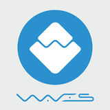 För blockchaincriptocurrency för vågor decentraliserad logo för vektor för plattform Arkivbild