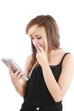 för blocktablet för elektronisk holding ny kvinna för touch Arkivfoto