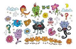 För blommadjur för monster färgrika ungar Stock Illustrationer