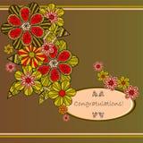 för blommafjäder för kort eps10 vektor för tema Royaltyfria Bilder