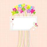 För blommahälsning för vår färgrikt kort Arkivbilder