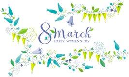 8 för blommahälsning för marsch kort Royaltyfria Bilder