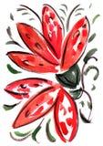 För blommaintryck för vattenfärg röd målning Arkivbild