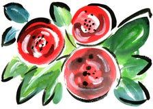 För blommaintryck för vattenfärg röd målning Arkivfoton