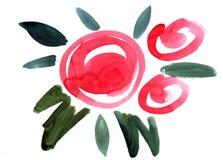 För blommaintryck för vattenfärg röd målning Fotografering för Bildbyråer