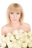 för blommawhite för bakgrund härlig kvinna Fotografering för Bildbyråer