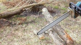 för blurchainsaw för bakgrund sawing för sawdust för stor för firewod för vedträ för man inte för person stapel för bild synlig i arkivfilmer