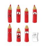 För blyertspennauppsättning för tecknad film emotionell röd färg 12 Arkivfoto