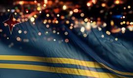 För Bokeh för natt för Aruba nationsflaggaljus bakgrund abstrakt begrepp Royaltyfri Bild