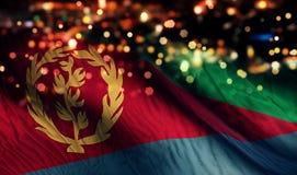 För Bokeh för natt för Eritrea nationsflaggaljus bakgrund abstrakt begrepp Royaltyfri Foto