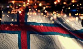 För Bokeh för natt för Faroe Island nationsflaggaljus bakgrund abstrakt begrepp Royaltyfria Foton