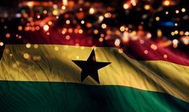 För Bokeh för natt för Ghana nationsflaggaljus bakgrund abstrakt begrepp Royaltyfria Foton
