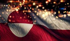 För Bokeh för natt för Grönlandnationsflaggaljus bakgrund abstrakt begrepp Royaltyfri Bild