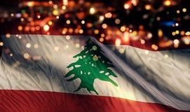 För Bokeh för natt för Libanon nationsflaggaljus bakgrund abstrakt begrepp Arkivfoto