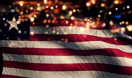 För Bokeh för natt för Liberia nationsflaggaljus bakgrund abstrakt begrepp Royaltyfri Foto