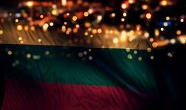 För Bokeh för natt för Litauen nationsflaggaljus bakgrund abstrakt begrepp Royaltyfri Bild