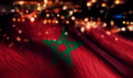 För Bokeh för natt för Marocko nationsflaggaljus bakgrund abstrakt begrepp Royaltyfri Bild
