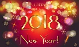 2018 för bokehhälsning för lyckligt nytt år guld- kort Royaltyfri Bild