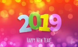 2019 för bokehljus för lyckligt nytt år kort för vektor vektor illustrationer