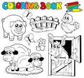 för bokfärgläggning för 2 djur lantgård Arkivbild