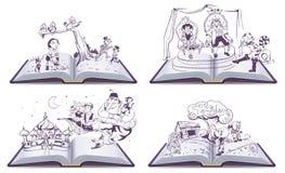 För bokillustration för uppsättning öppen berättelse för saga av Pinocchio, Cipollino, Alladin och kissekatten i kängor royaltyfri illustrationer