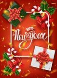 För bokstäverhälsning för lyckligt nytt år kort för ferie Guld- konfettinedgångar Kalligrafi som märker nytt år Vektorillustratio fotografering för bildbyråer